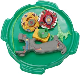 R L SONS 2 Beyblade Set with Ripchord Launcher with Stadium (Super Top Spin Game Set;Multicolor)