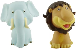 R L SONS Figurine Lion and Elephant Toy Figure Play Set Combo for Boys and Girls, Multi Color