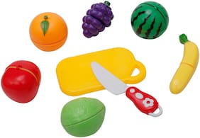 R L SONS Realistic Sliceable 6 pcs Fruits Cutting Play Toy Set;Can Be Cut in 2 Parts