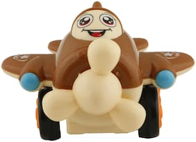 R L SONS Roll on / Pull Along Aeroplane Toy for Kids (Both Boys and Girls), Color - Multi