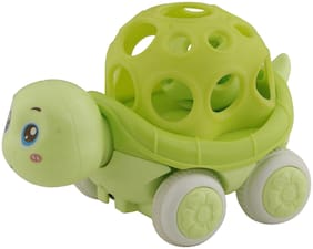 R L SONS Roll on Wheels with Musical Ball Tortoise Pull-Along Toy Set for Kids (Boys and Girls), Color - Green