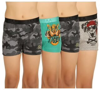 RAA Boys Cotton Multi color Outer Elastic Trunk Pack of 4