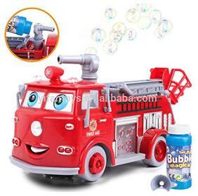 radhe enterprise Cartoon Fire Rescue Pumper Bubble Blowing Bump & Go Battery Operated Toy Truck w Extending Crane