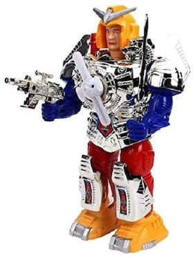 RADHE ENTERPRISE Combat Hero Robot With Music And Lights Face Changing Combat Hero Robot Moving on Wheel Robot with Sword and Gun Robotics Toy