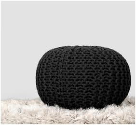 Rajrang Solid Cotton Ottoman Black Pouf Fabric Stool For Living room and Bedroom