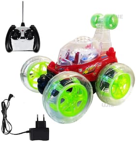 RC Full Function Radio Remote Control Toy 360 deg Rotating Stunt Car with Light, Music and Rechargeable Batteries for Boys/Kids(Red)