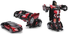 RC Transforming Robot Toy Red Autobots Remote Control (27 MHz) Realistic Engine Sounds 1:14 Scale