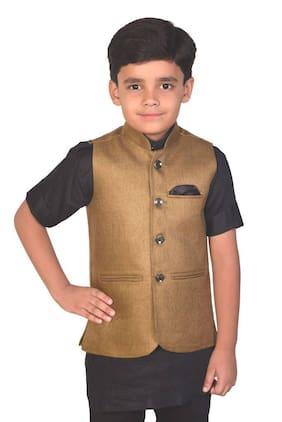 Re - Bav Boy Blended Solid Ethnic Jacket - Brown