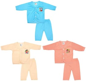 Rebizo Multi Color Baby Cotton Clothes Set for Unisex (Pack of 3 Set, 0-3 Months)