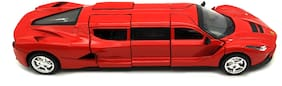 Red 1:32 Die Cast Metal Limousine Ferrari Pull Back Car Toy with Openable Doors, Light and Sound Effects  (Red)