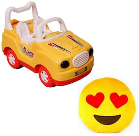 Red Ballons Combo of Super Stunt Car and Smiley Cushion- 30 Cms