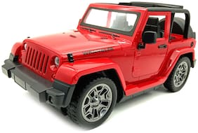 Red Battery Operated Friction Powered Wrangler Jeep Toy with Light and Sound Effects