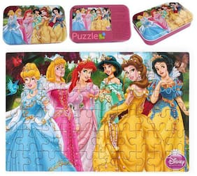 60 Pieces Wooden Cartoon Jigsaw Puzzles in Metal Box (Assorted cartoon designs will be sent)