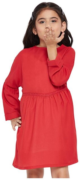OXOLLOXO Girl Polyester Solid Frock - Red