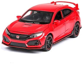 Red Diecast Metal Type R Model Pull Back Car Toy with Openable Doors, Light and Sound