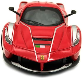 Red Diecast Metal Ferrari Pull Back Car Toy with Openable Doors, Light and Sound Effects
