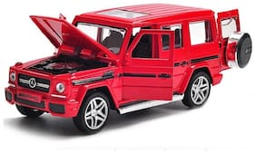 Red Diecast Metal G65 AMG Pull Back Car Toy with Openable Doors, Light and Sound Effects