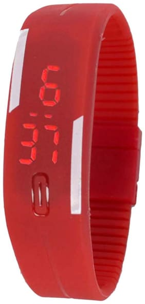 Red Digital Led Silicon Watch