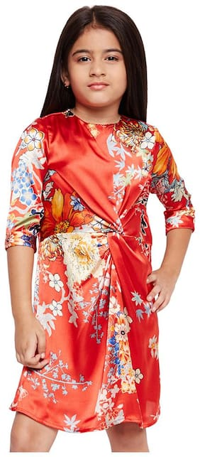 OXOLLOXO Red Polyester Full Sleeves Above Knee Princess Frock ( Pack of 1 )