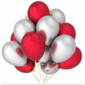 Red Silver Metallic Balloons Party Balloons for Birthday Parties, anniversary and festivals pack of 50pcs(25+25)