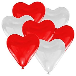 Red & White Heart Shape Party Balloons for Birthday Anniversary Christmas New Year Parties Pack of 50pcs