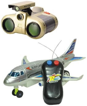 Remote Aeroplane 2 Channel Radio Control (Running, Not Flying) with binocular toy
