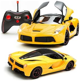 Remote Control Car With Opening Doors Rechargeable Ferrari Design (yellow)