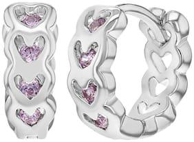"""Rhodium Plated Pink Crystals Small Huggie Heart Girl Hoop Earrings 0.39"""""""