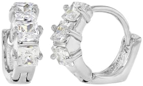 Rhodium Plated Clear Cubic Zirconia Super Tiny Hoop Huggie Women's Earrings 7mm