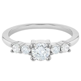Rhodium Plated Clear CZ Small Solitaire Rings for Toddlers or Girls