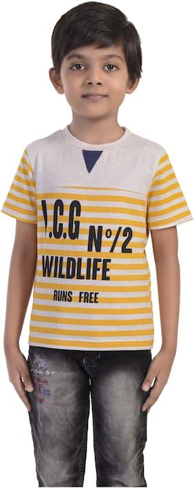 Rhythm Boy Cotton blend Striped T-shirt - Yellow & White