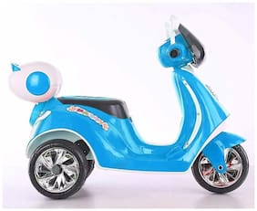 RK Unique Store 3-Wheel Special Battery Operated Ride On Scooty Scooter With Back Basket Music;Horn;Headlights And 30 Kg Weight Capacity - Blue