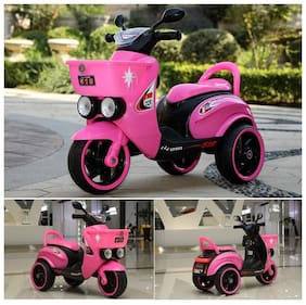 RK Unique Store Baby Battery Operated Rechargeable Electric Ride On Bike Scooter With mp3 Music System & Front Basket & Headlights And 30 Kg Weight Capacity - Pink