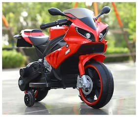 RK Unique Store Baby Mini Yamaha R1 Battery Operated Rechargeable Electric Ride On Bike With Hand Accelerator & Wheels LED Light & mp3 Music System & Headlights With 30 kg Weight Capacity - Red