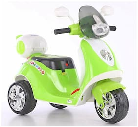 3-Wheel Special Battery Operated Ride On Scooty Scooter With Back Basket Music, Horn, Headlights And 30 kg Weight Capacity - Green