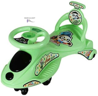 Baby Cartoon Character Swing Magic Car Ride On for Kids Of Above 2 Years With Free Wheels; Music; Light & Back Rest Strongest And Smoothest PVC Wheels & ABEC Bearing Fun for Boys and Girls - Green
