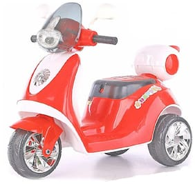 3-Wheel Special Battery Operated Ride On Scooty Scooter With Back Basket Music;Horn;Headlights And 30 Kg Weight Capacity - Red