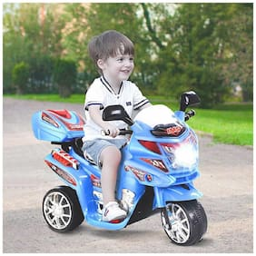 ''RK Unique Store'' 3-Wheel Special Battery Operated Ride On Bike With Music, Horn, Headlights With 25 Kg Weight Capacity - Blue
