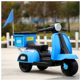 RK Unique Store Baby Battery Operated Rechargeable Electric Ride On Bike Scooter With Free Flag & Helmet & Music & Headlights & Back Basket & And 25 Kg Weight Capacity - Blue
