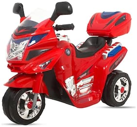 'RK Unique Store'' 3-Wheel Special Battery Operated Ride On Bike With Music, Horn, Headlights With 25 kg Weight Capacity - Red