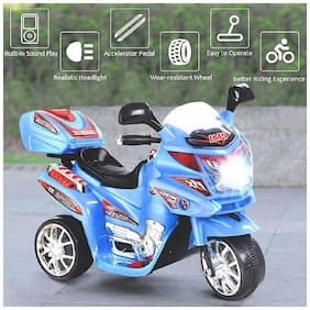 3-Wheel Special Battery Operated Ride On Bike With Music, Horn, Headlights With 25 kg Weight Capacity - Blue