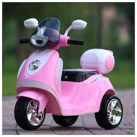 RK Unique Store 3-Wheel Special Battery Operated Ride On Scooty Scooter With Back Basket Music;Horn;Headlights And 30 Kg Weight Capacity - Pink
