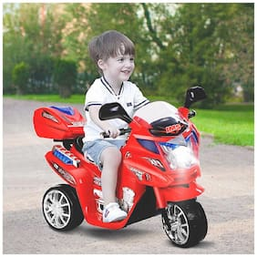 3-Wheel Special Battery Operated Ride On Bike With Music, Horn, Headlights And Back Basket With 25 kg Weight Capacity - Red