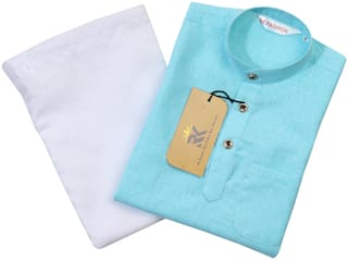 RKZONE Boy Cotton Solid Kurta pyjama set - Blue