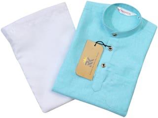 RKZONE Boy Cotton Solid Kurta pyjama set - Blue