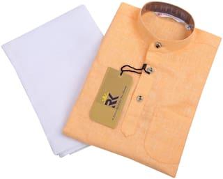 RKZONE Boy Cotton Solid Kurta pyjama set - Orange