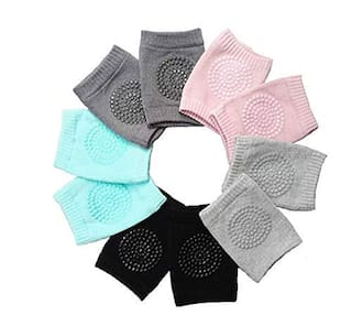ROSAIRES Cotton Multi Color Texture Socks/Knee Pad/Knee Guard For Baby Boy and Girl (Set Of 5)