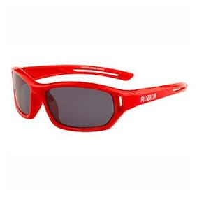 Rozior Red Kids Polarized Sunglass with UV Protection Black Lens with Red Frame, MODEL: RWPK121C5