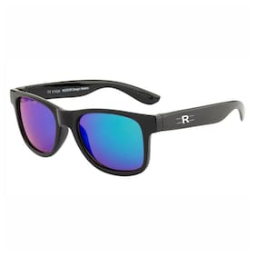 Rozior Black Kids Sunglass with UV Protection Green Mirror Lens with Black Frame, MODEL: RWUK1028M1