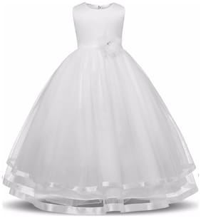 ROZZBY Girl's Satin Self design Sleeveless Gown - White
